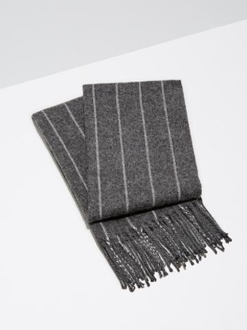 Frank + Oak Wool-blend Pinstripe Scarf In Charcoal