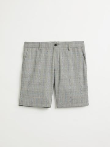 Frank + Oak The Newport Glen Plaid Shorts In Grey