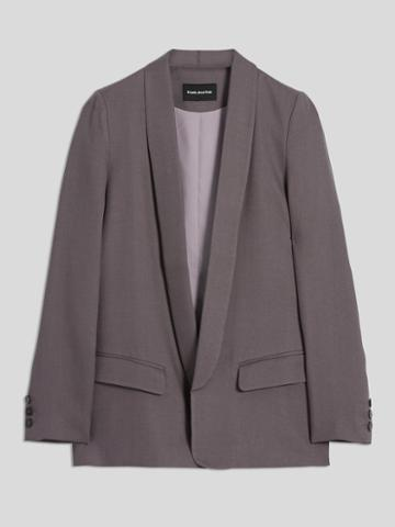 Frank + Oak Textured Tencel Open Blazer In Dark Purple