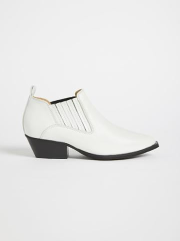 Frank + Oak The Badlands Leather Western Bootie - White