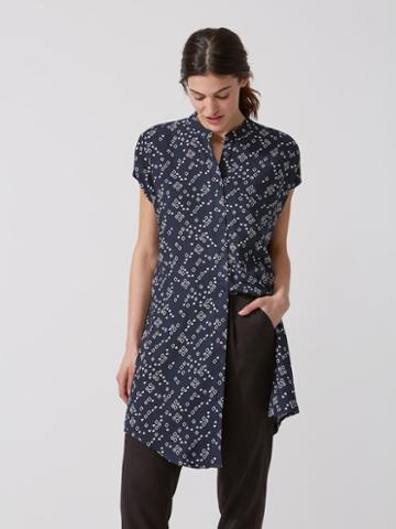 Frank + Oak Patterned Oversized Shirt Dress In Dark Smoke