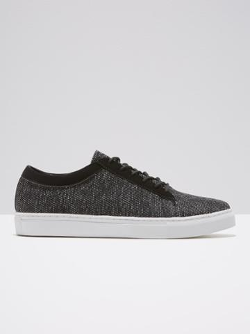 Frank + Oak Perforated Leather Low-top Sneaker In Black