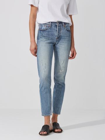 Frank + Oak Levi's Wedgie Fit Ripped Jean In Washed Blue