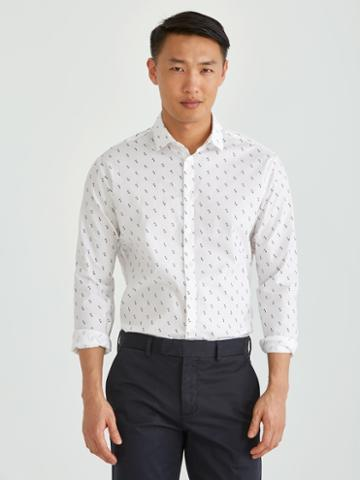 Frank + Oak The Andover Stretch Dress Shirt In Printed White
