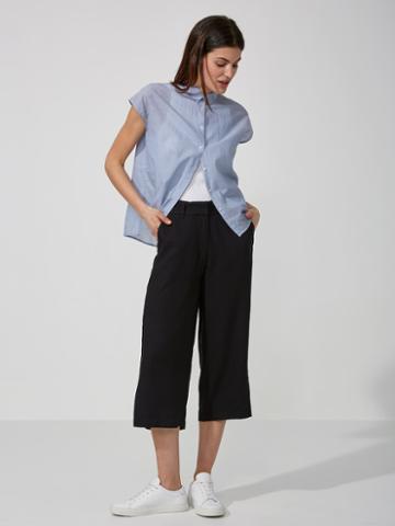 Frank + Oak Textured Wide-leg Culottes In The Black