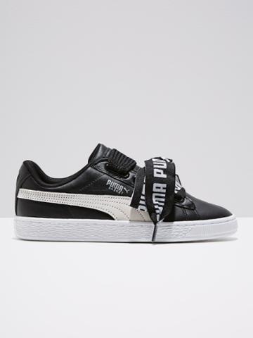 Frank + Oak Puma Basket Heart De Sneakers In Black