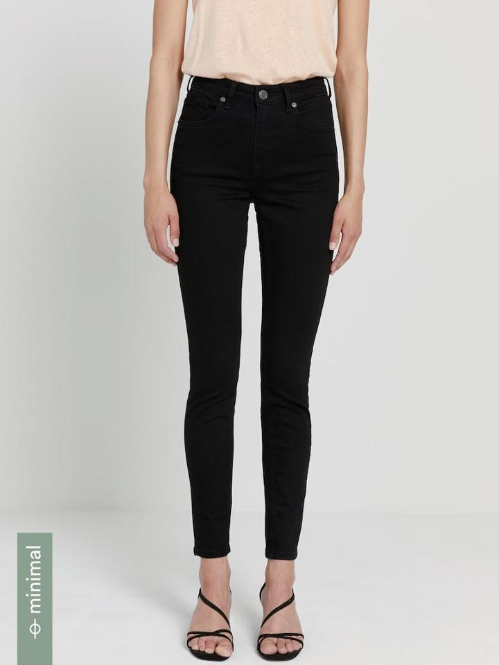 Frank + Oak The Debbie High-waisted Hydro-less Skinny Jean In Black