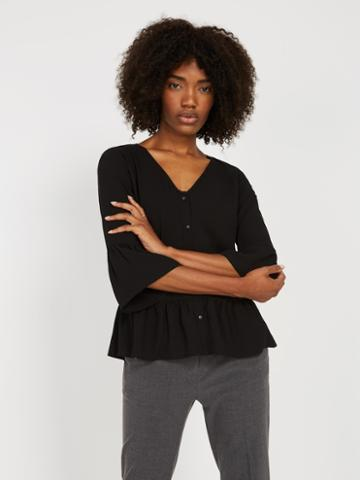 Frank + Oak V-neck Bell Sleeve Blouse - Black