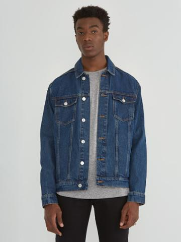 Frank + Oak The Rufus Organic Denim Trucker Jacket In Med Indigo
