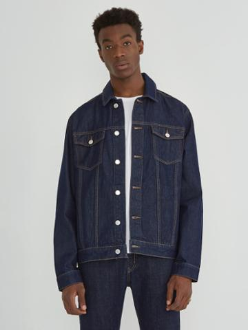 Frank + Oak The Rufus Organic Denim Trucker Jacket In Dark Indigo