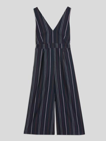 Frank + Oak Striped V-neck Jumpsuit In Navy