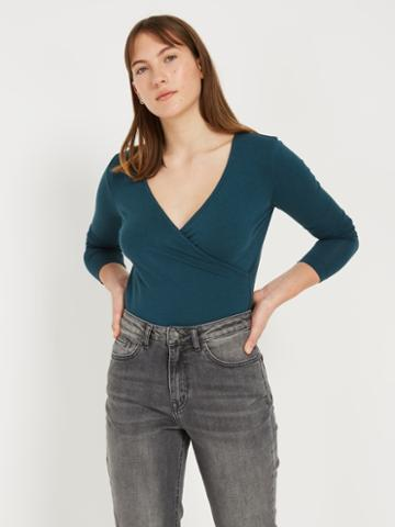 Frank + Oak Wrap Top - Dark Teal