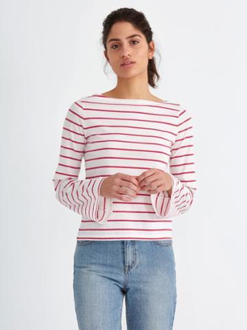 Frank + Oak Breton-stripe Bell-sleeve Cotton Top In Carmine