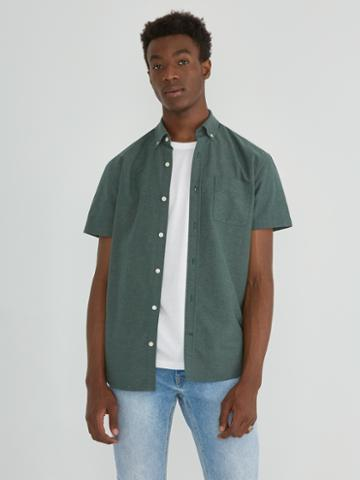 Frank + Oak The Marled Jasper Short Sleeve Oxford In Green