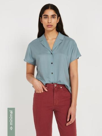 Frank + Oak The Tencel Everyday Camp Collar Blouse - Steel Blue