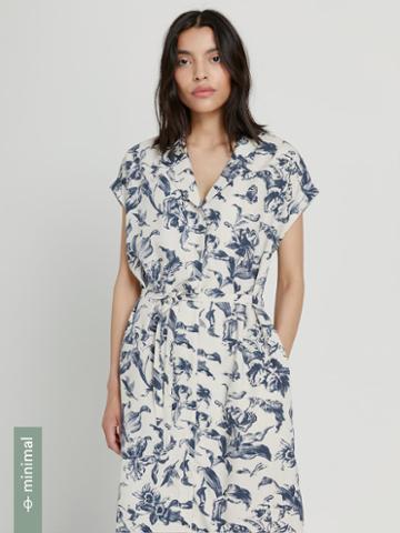 Frank + Oak Linen-tencel Lyocell Camp Collar Dress In Gray
