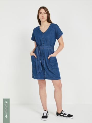 Frank + Oak Good Cotton Belted Denim Dress In Blue