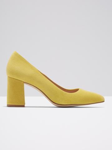Frank + Oak The Gallery Block Heel In Bright Yellow Suede