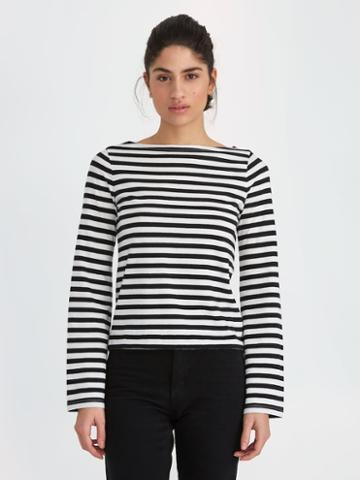 Frank + Oak Breton-stripe Bell-sleeve Cotton Top In Snow White