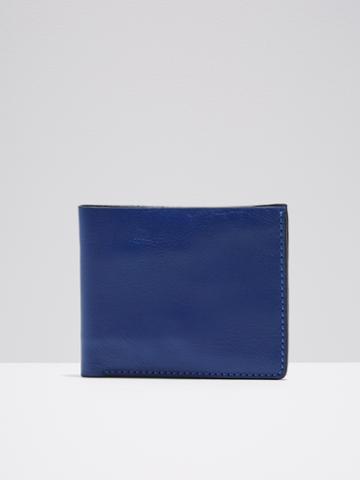 Frank + Oak Leather Slim Bifold Wallet In Cobalt