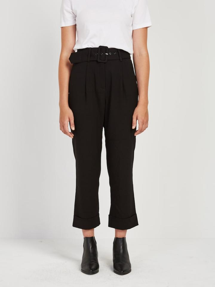 Frank + Oak Belted Trouser Pleated Pant In Black