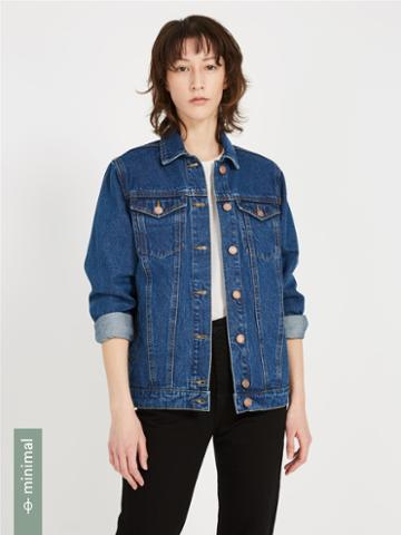 Frank + Oak Martha Boyfriend Fit Denim Jacket - Classic Indigo