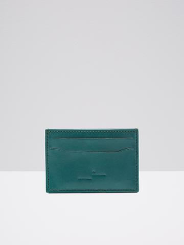 Frank + Oak Leather Card Holder In Seaweed