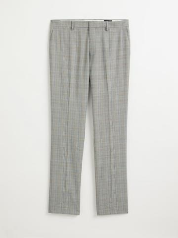 Frank + Oak The Laurier Glen Plaid Polyester Dress Pant In Grey