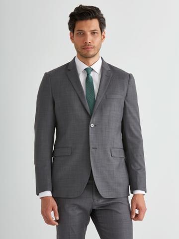 Frank + Oak The Laurier Sharkskin Stretch-wool Suit Jacket In Charcoal
