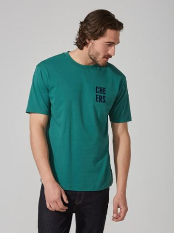 Frank + Oak Cotton Cheers T-shirt In Antique Green