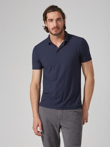 Frank + Oak Reverse-slub Large-pocket Polo In Dark Blue