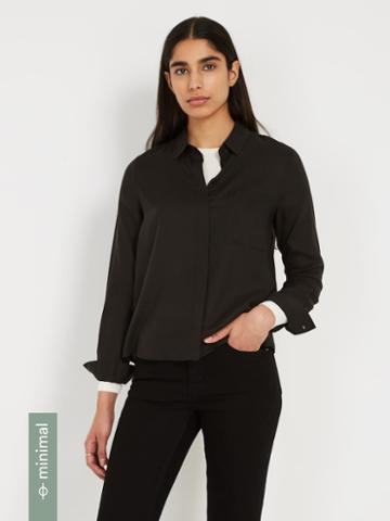 Frank + Oak The Tencel Everyday Blouse - True Black