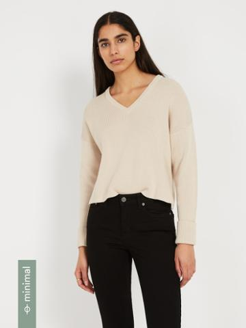 Frank + Oak Organic-recycled-cotton V-neck Sweater - Oatmeal