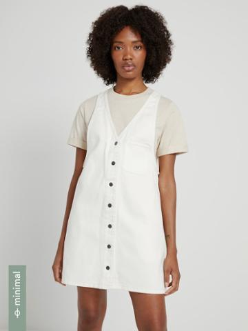 Frank + Oak Good Cotton Denim Pinafore In White