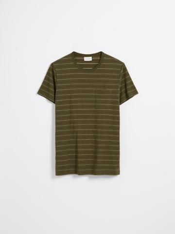 Frank + Oak Striped Good Cotton T-shirt In Dark Olive