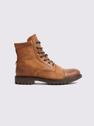 Frank + Oak Oiled Suede Combat Boots In Light Brown