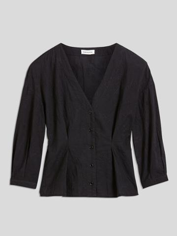 Frank + Oak Balloon Sleeve Cotton Blouse In Black