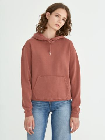 Frank + Oak Washed Hoodie Sweatshirt In Dark Red