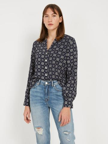 Frank + Oak Printed Button Up Blouse - Navy