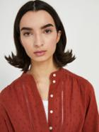 Frank + Oak Cotton Embroidered Blouse - Red
