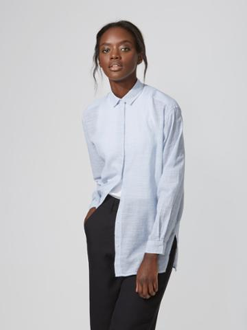 Frank + Oak Oversized Striped Cotton-voile Shirt In Light Blue