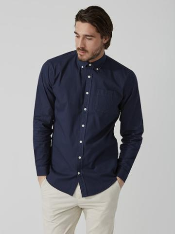 Frank + Oak Garment-dyed Lightweight Oxford Shirt In Black Iris