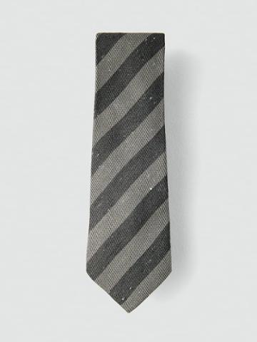 Frank + Oak Striped Silk-cotton Tie In Charcoal