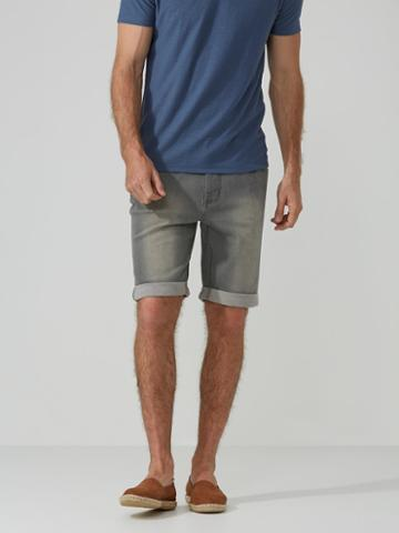 Frank + Oak French Terry Denim Shorts In Grey Wash
