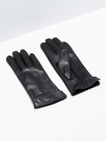 Frank + Oak Black Leather Gloves