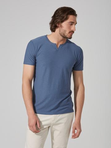 Frank + Oak Reverse-slub Moroccan T-shirt In Vintage Indigo