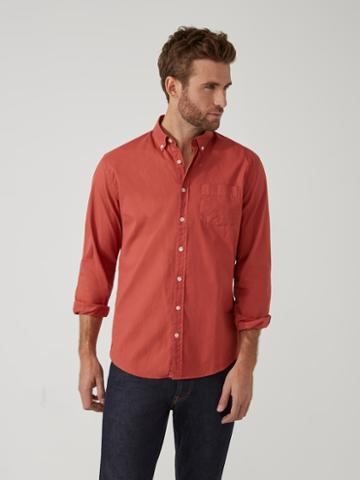 Frank + Oak Garment-dyed Lightweight Oxford Shirt In Fig