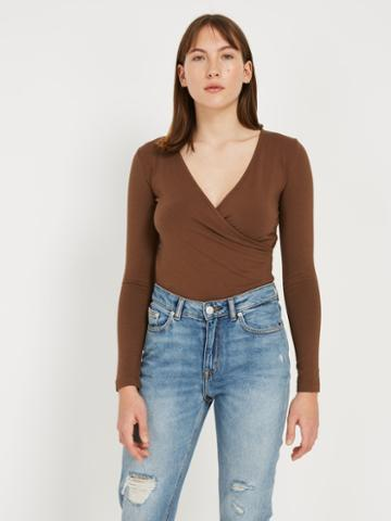 Frank + Oak Wrap Top - Brown