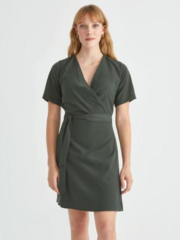 Frank + Oak Short Sleeve Wrap Dress In Dark Forest