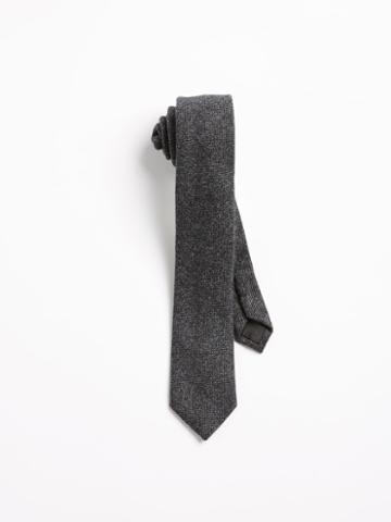 Frank + Oak Harringbone Wool Slim Tie - Black
